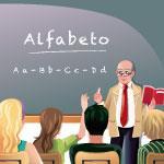 desenho de crianças na aula com o professor