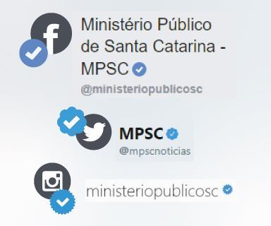 Montagem com os selos de autenticidade de redes socias do MPSC